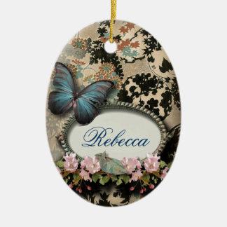 Ornamento del monograma del damasco de la mariposa ornamento para reyes magos