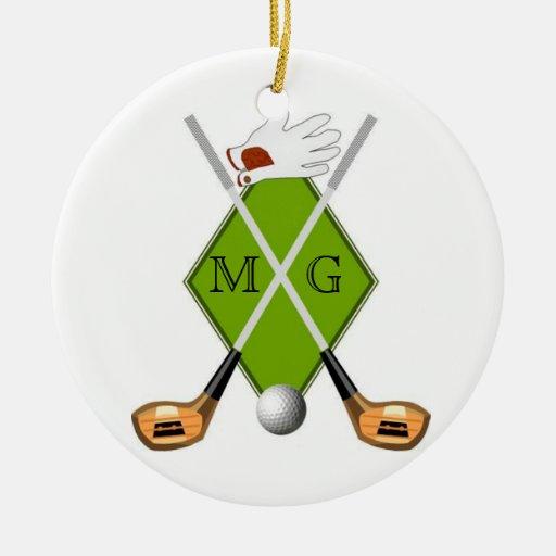 Ornamento del monograma del golf adorno navideño redondo de cerámica