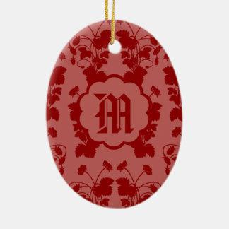 Ornamento del monograma del modelo de las fresas adorno ovalado de cerámica