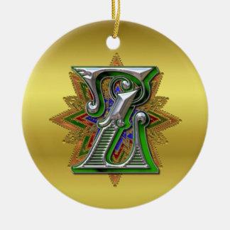 Ornamento del monograma Z Adorno Navideño Redondo De Cerámica