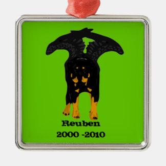 Ornamento del monumento de Rottweiler Adorno Cuadrado Plateado