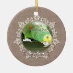 Ornamento del monumento del pájaro del mascota del adorno navideño redondo de cerámica