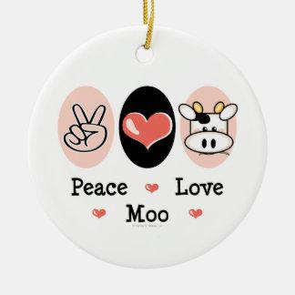 Ornamento del MOO del amor de la paz Adorno Navideño Redondo De Cerámica