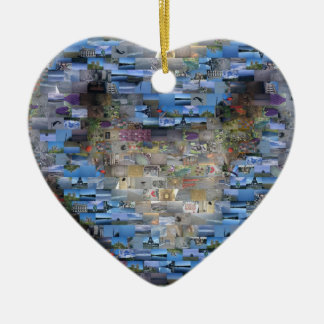 Ornamento del mosaico del corazón adorno navideño de cerámica en forma de corazón