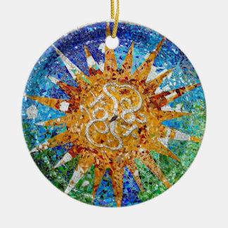 Ornamento del mosaico del resplandor solar de adorno navideño redondo de cerámica