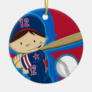 Ornamento del muchacho del béisbol adorno navideño redondo de cerámica