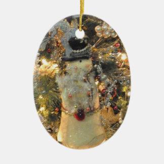 Ornamento del muñeco de nieve adorno navideño ovalado de cerámica