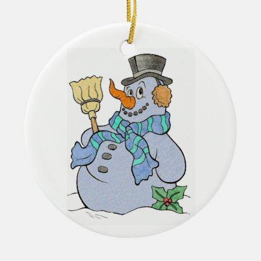 Ornamento del muñeco de nieve adorno navideño redondo de cerámica