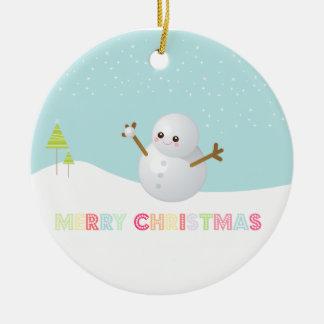 Ornamento del muñeco de nieve de las Felices Adornos De Navidad