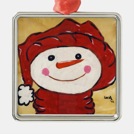 Ornamento del muñeco de nieve adorno cuadrado plateado