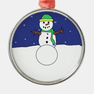 Ornamento del muñeco de nieve del dibujo animado adorno navideño redondo de metal