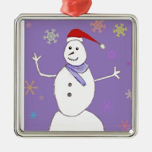 Ornamento del muñeco de nieve del navidad adorno navideño cuadrado de metal