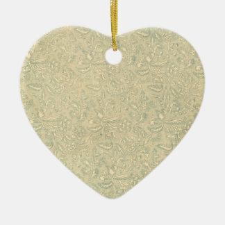 Ornamento del musgo del vintage adorno navideño de cerámica en forma de corazón