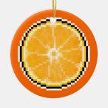 Ornamento del naranja del arte del pixel adornos de navidad