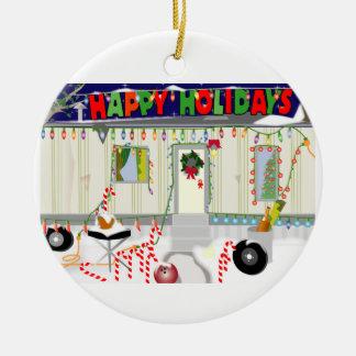 Ornamento del navidad 2011 de la basura del adorno redondo de cerámica