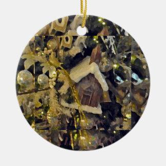 Ornamento del navidad adorno navideño redondo de cerámica