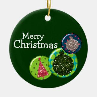 Ornamento del navidad adorno redondo de cerámica