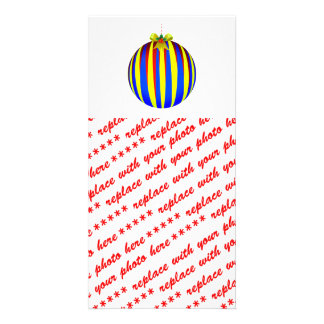Ornamento del navidad - amarillo azul y rojo tarjetas fotograficas