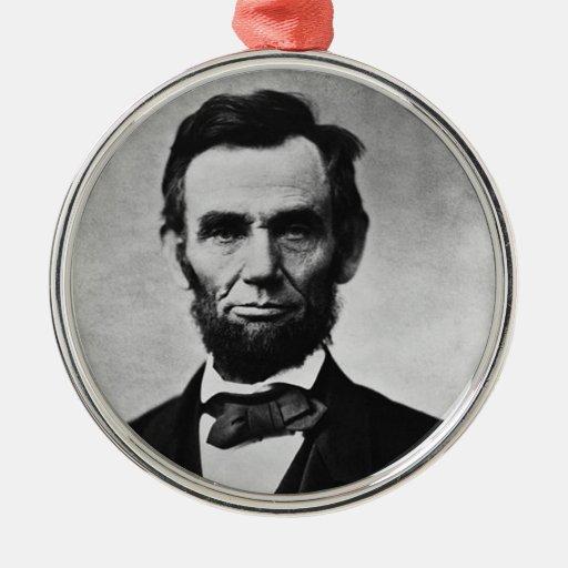 Ornamento del navidad de Abraham Lincoln Adorno Redondo Plateado