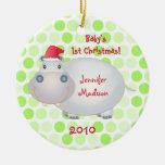 Ornamento del navidad de Babys del Hippopotamus pr Ornamente De Reyes