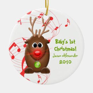 Ornamento del navidad de Babys del reno del dibujo Adorno Navideño Redondo De Cerámica