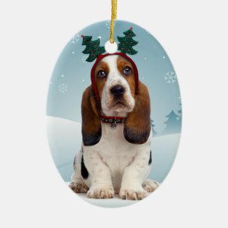 Ornamento del navidad de Basset Hound Adorno Navideño Ovalado De Cerámica