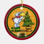 Ornamento del navidad de Beary Adorno Navideño Redondo De Cerámica