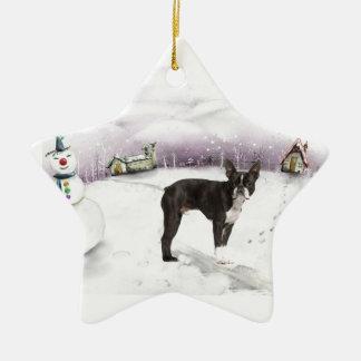 Ornamento del navidad de Boston Terrier Ornamente De Reyes