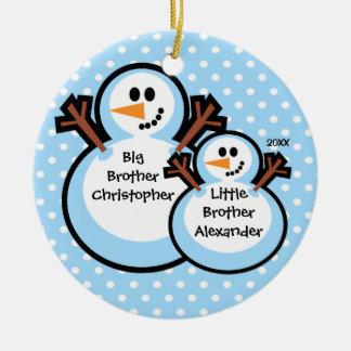 Ornamento del navidad de Brother grande y pequeño Adorno Redondo De Cerámica