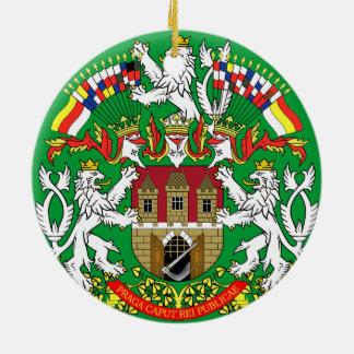 Ornamento del navidad de Checo Prague* Adorno Redondo De Cerámica