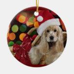 Ornamento del navidad de cocker spaniel adorno navideño redondo de cerámica