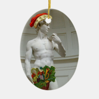 Ornamento del navidad de David Santa Adorno Ovalado De Cerámica