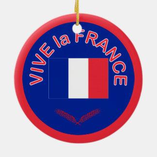 Ornamento del navidad de Francia del la de Vive Adorno Redondo De Cerámica