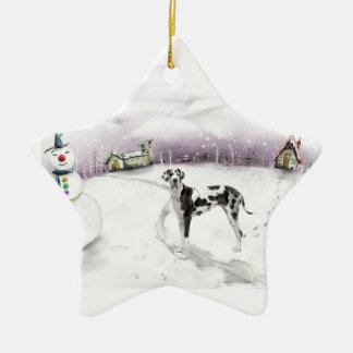 Ornamento del navidad de great dane adorno navideño de cerámica en forma de estrella