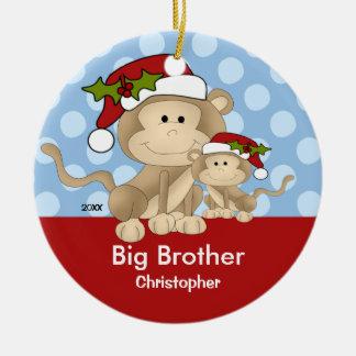 Ornamento del navidad de hermano mayor del mono de adorno redondo de cerámica