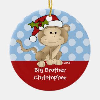 Ornamento del navidad de hermano mayor del mono adorno redondo de cerámica