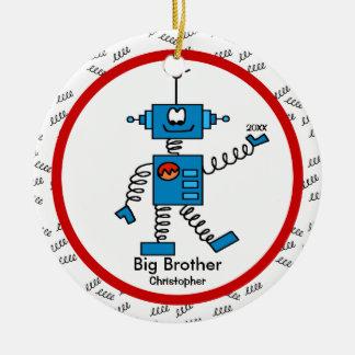 Ornamento del navidad de hermano mayor del robot adorno navideño redondo de cerámica