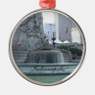 Ornamento del navidad de Indianapolis Adorno Redondo Plateado