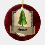 Ornamento del navidad de Iowa Adorno Navideño Redondo De Cerámica