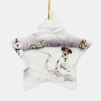 Ornamento del navidad de Jack Russell Terrier Adorno Navideño De Cerámica En Forma De Estrella