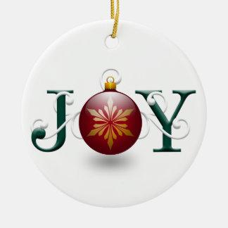 """Ornamento del navidad de la """"alegría"""" adorno redondo de cerámica"""