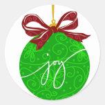 Ornamento del navidad de la alegría del KRW Pegatina Redonda