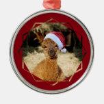 Ornamento del navidad de la alpaca adorno navideño redondo de metal