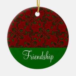 Ornamento del navidad de la amistad de Falalalala Adorno Navideño Redondo De Cerámica