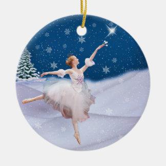 Ornamento del navidad de la bailarina de la reina adorno navideño redondo de cerámica