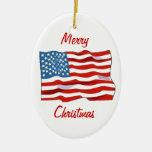 Ornamento del navidad de la bandera americana ornamento de navidad