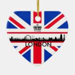 Ornamento del navidad de la bandera de Union Jack Adorno Navideño De Cerámica En Forma De Corazón