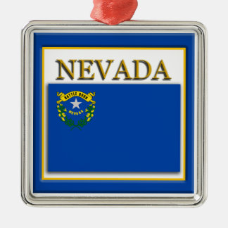Ornamento del navidad de la bandera del estado de adorno navideño cuadrado de metal