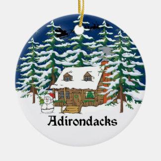 Ornamento del navidad de la cabaña de madera de adorno navideño redondo de cerámica