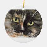 Ornamento del navidad de la cara del gato de calic adorno para reyes
